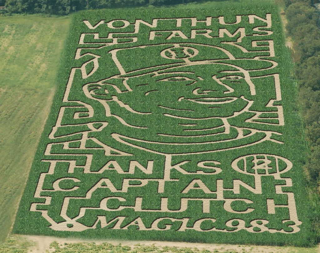 This 5+ acre corn maze was designed to honor The Captain's accomplishments, achievements, & success!